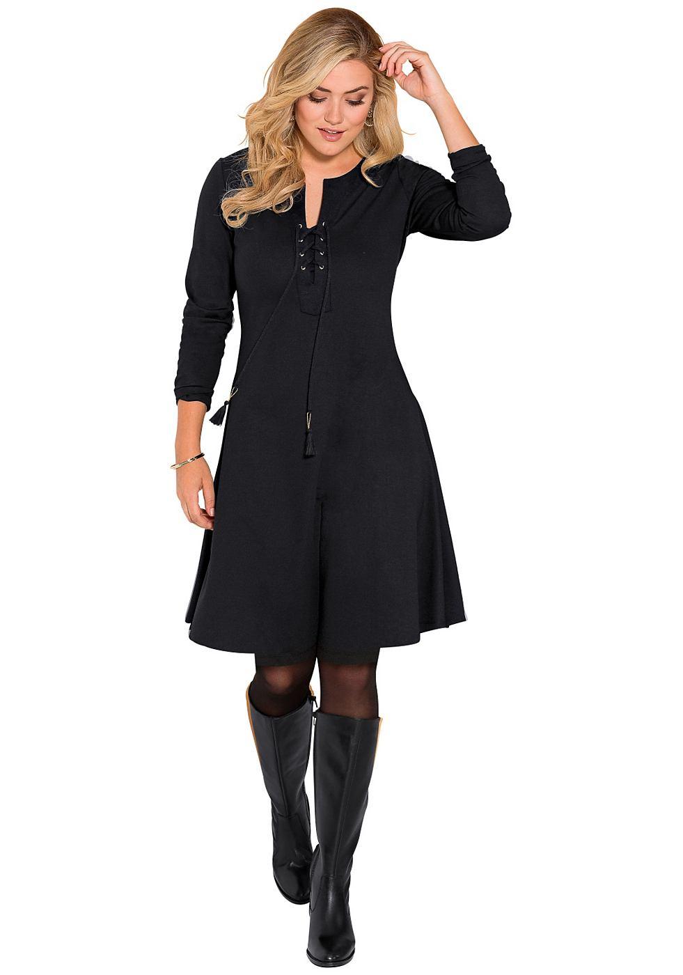 Sheego Style jerseyjurk zwart