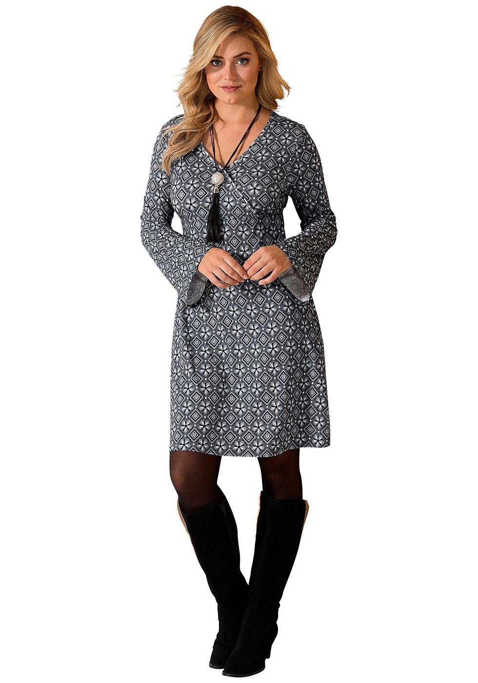 Sheego Style jerseyjurk met wikkeleffect grijs