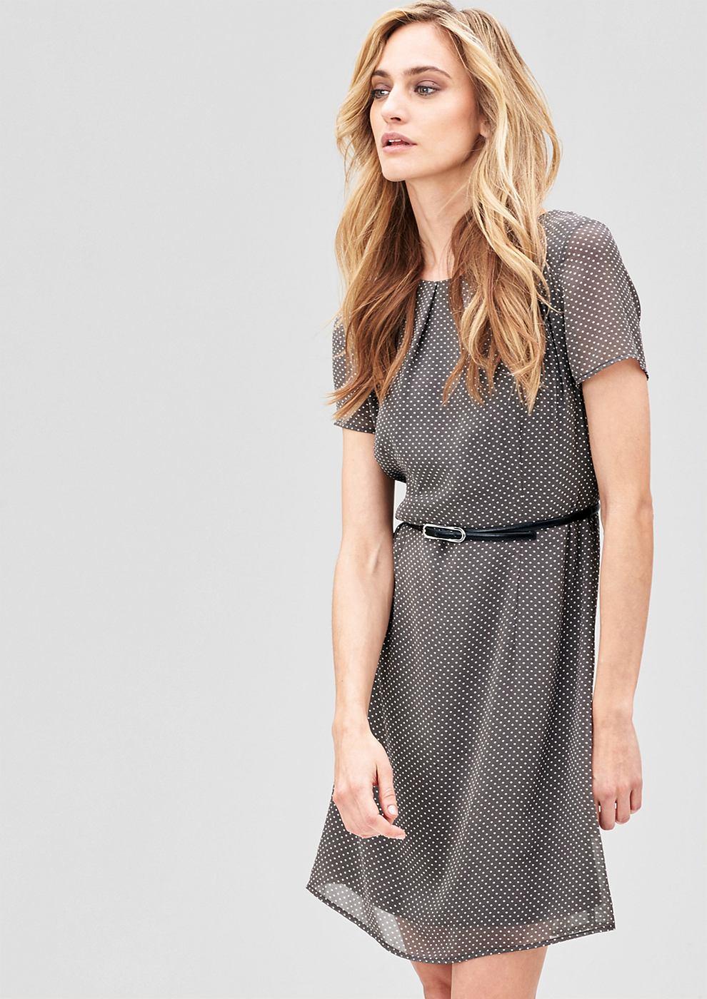 s.Oliver Premium Zwierige jurk met riem grijs