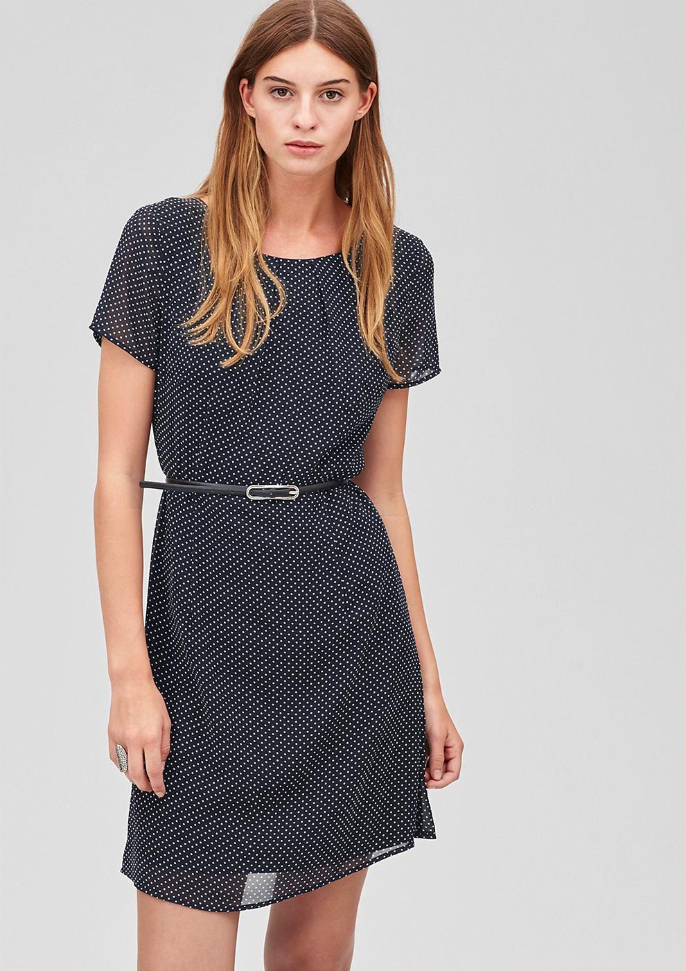 s.Oliver Premium Zwierige jurk met riem blauw