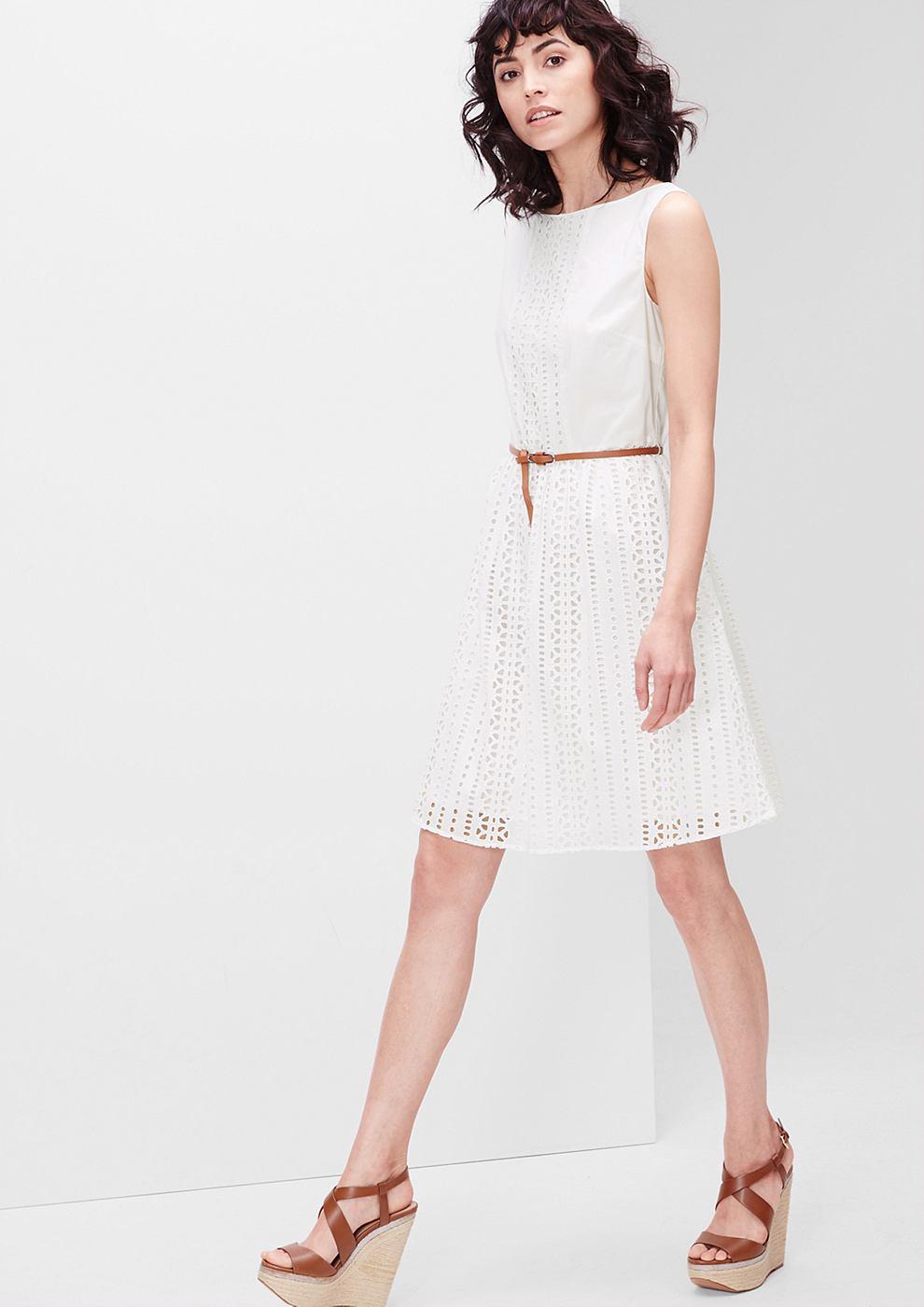 s.Oliver Katoenen jurk met gaatjesmotief wit