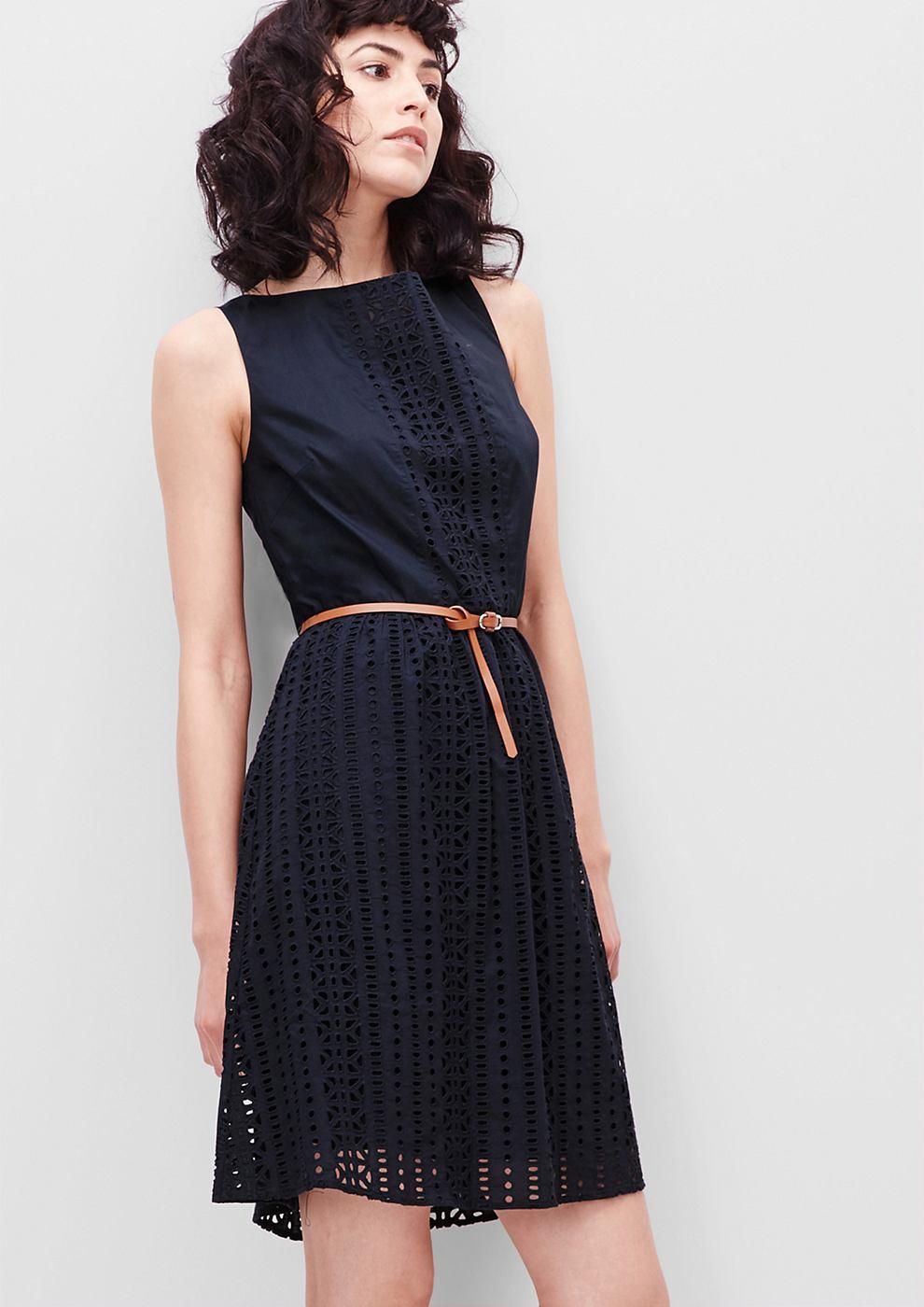 s.Oliver Katoenen jurk met gaatjesmotief blauw
