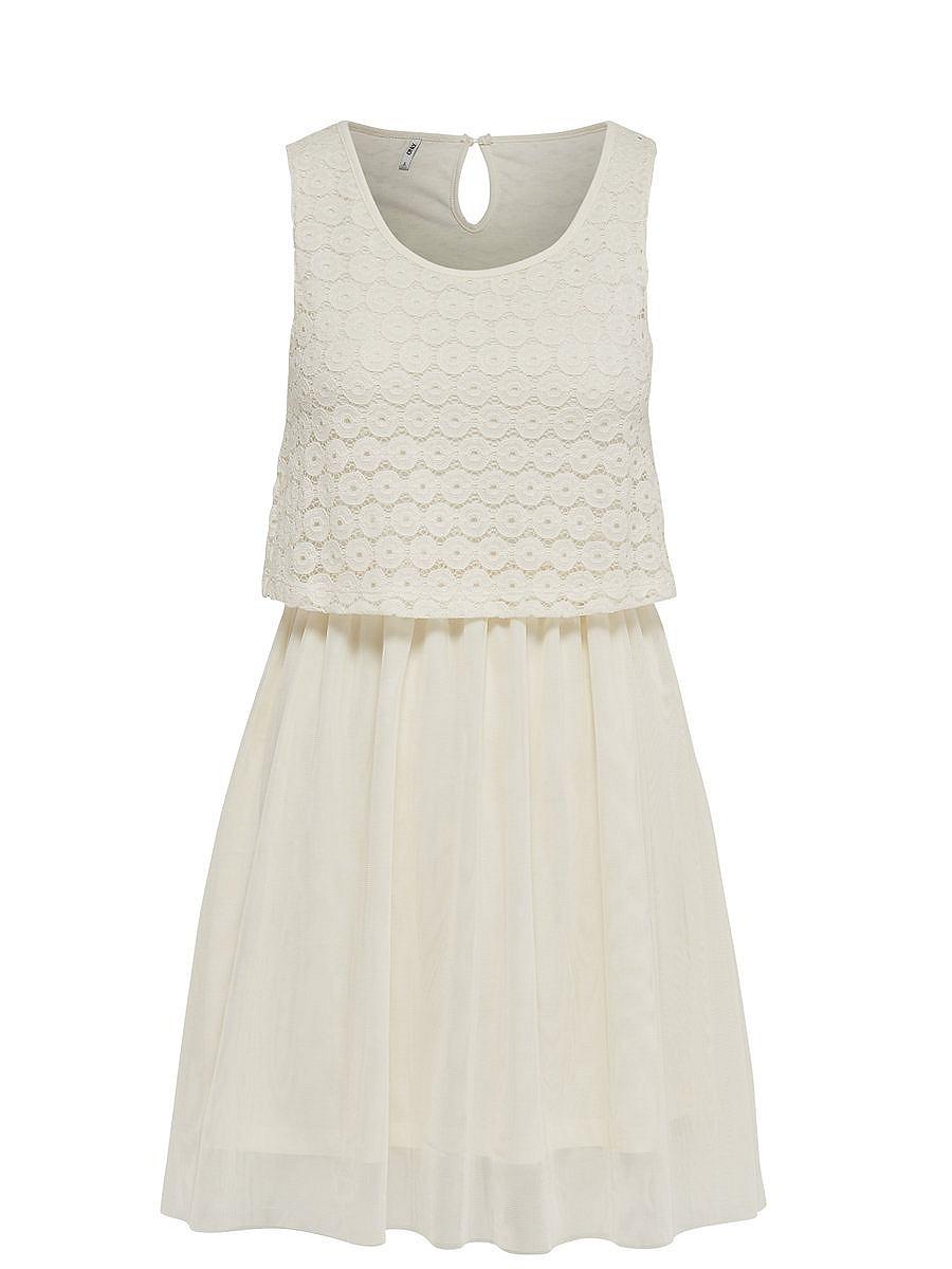 ONLY kanten Mouwloze jurk wit