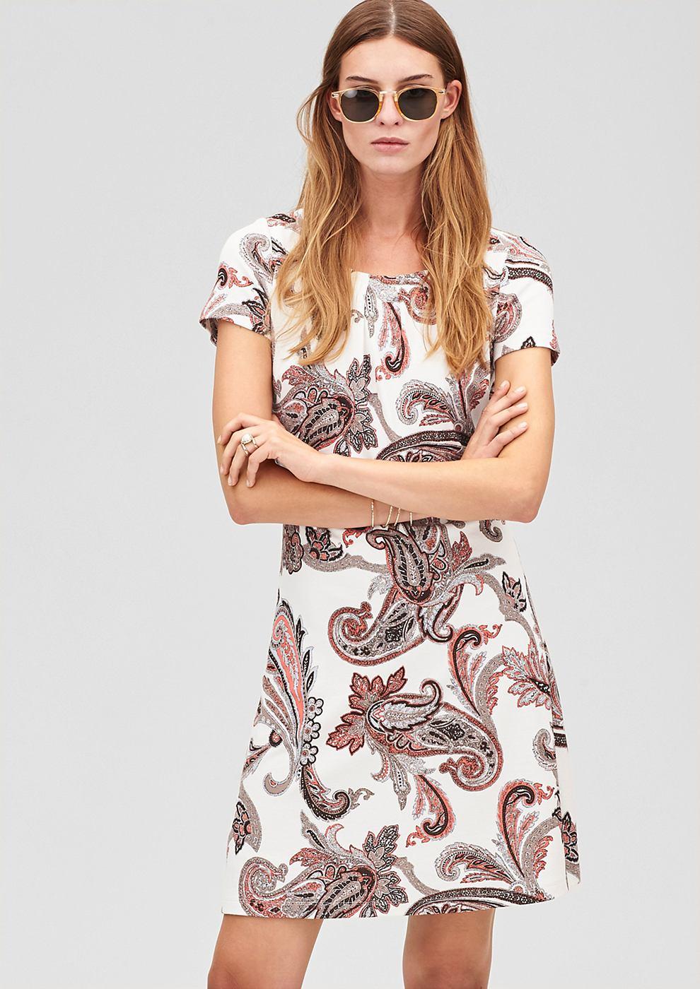 s.Oliver Premium jersey jurk met patroon en stretch wit
