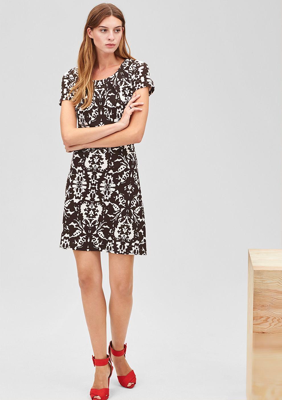 s.Oliver Premium jersey jurk met patroon en stretch bruin