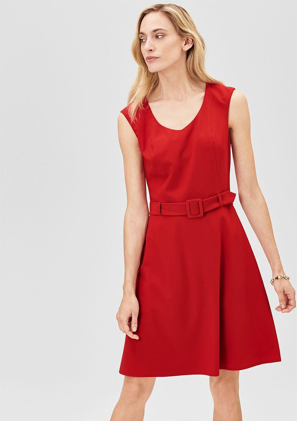 s.Oliver Premium Business jurk van crepe rood