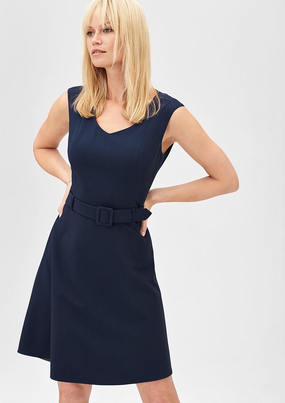 s.Oliver Premium Business jurk van crepe blauw