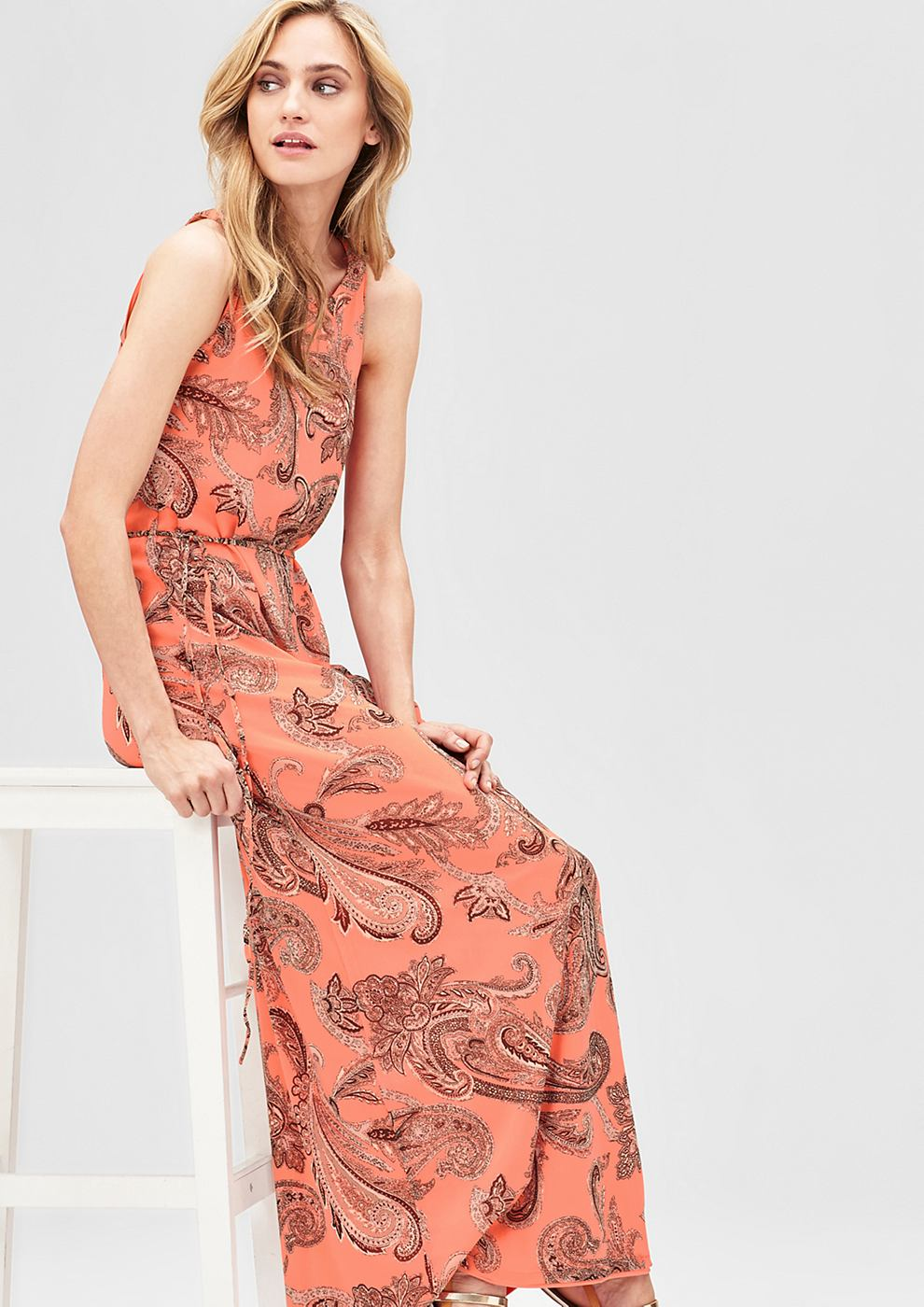 s.Oliver Premium Maxi dress met een ornamentenmotief oranje