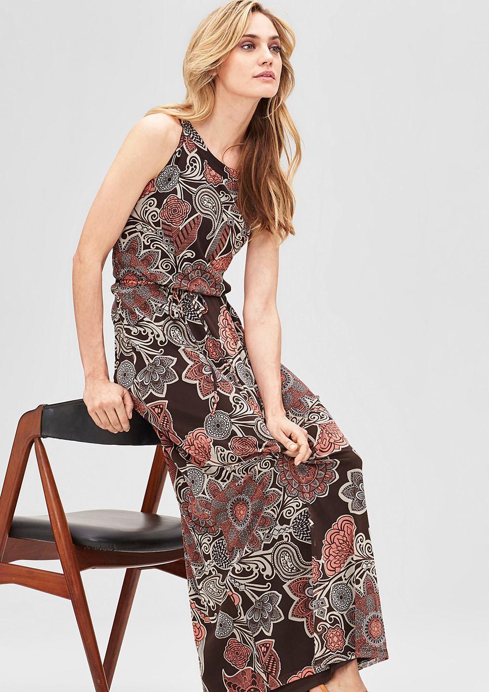 s.Oliver Premium Maxi dress met een ornamentenmotief bruin