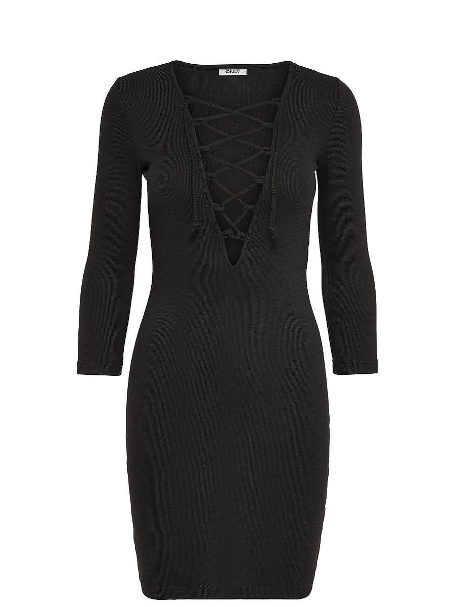 ONLY Lace up Korte jurk zwart