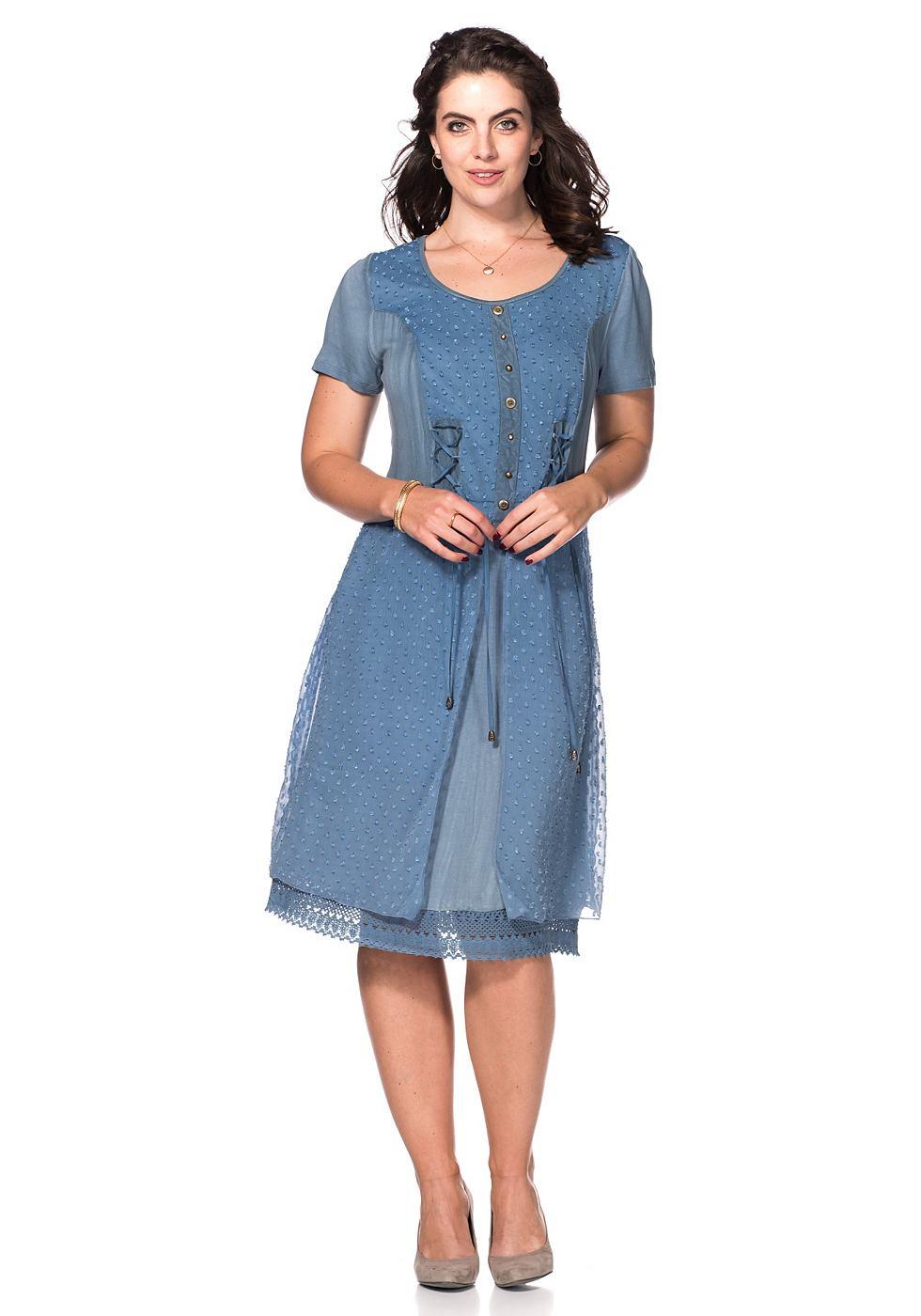 Joe Browns jurk in een mix van materialen blauw