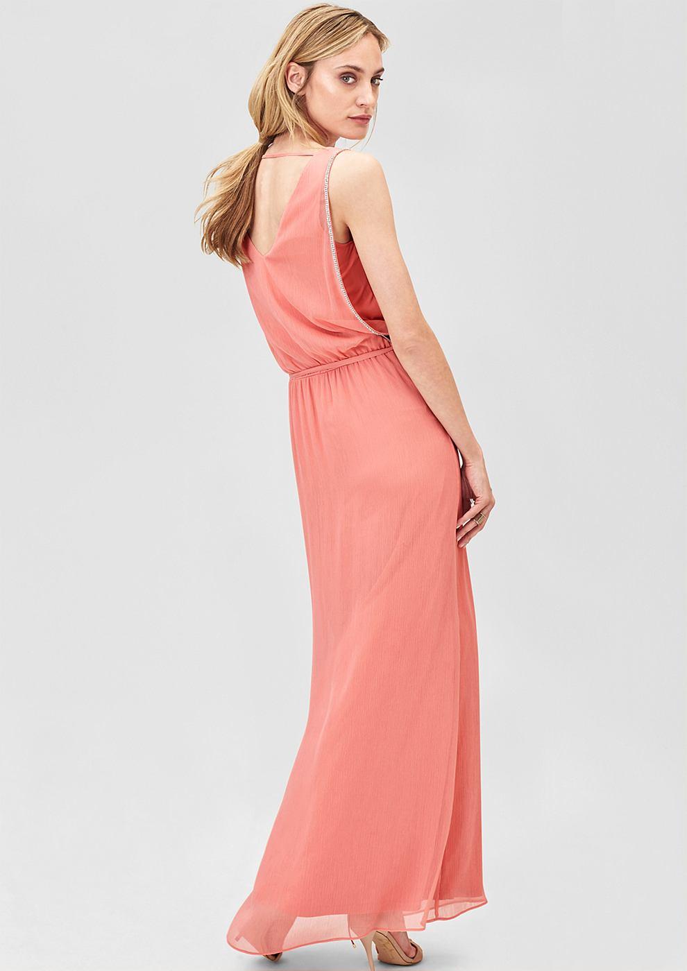 s.Oliver Premium Crepe jurk met sierrandjes met stras oranje