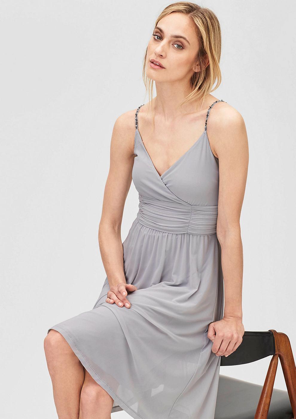 s.Oliver Premium Mesh jurk met stras-schouderbandjes grijs