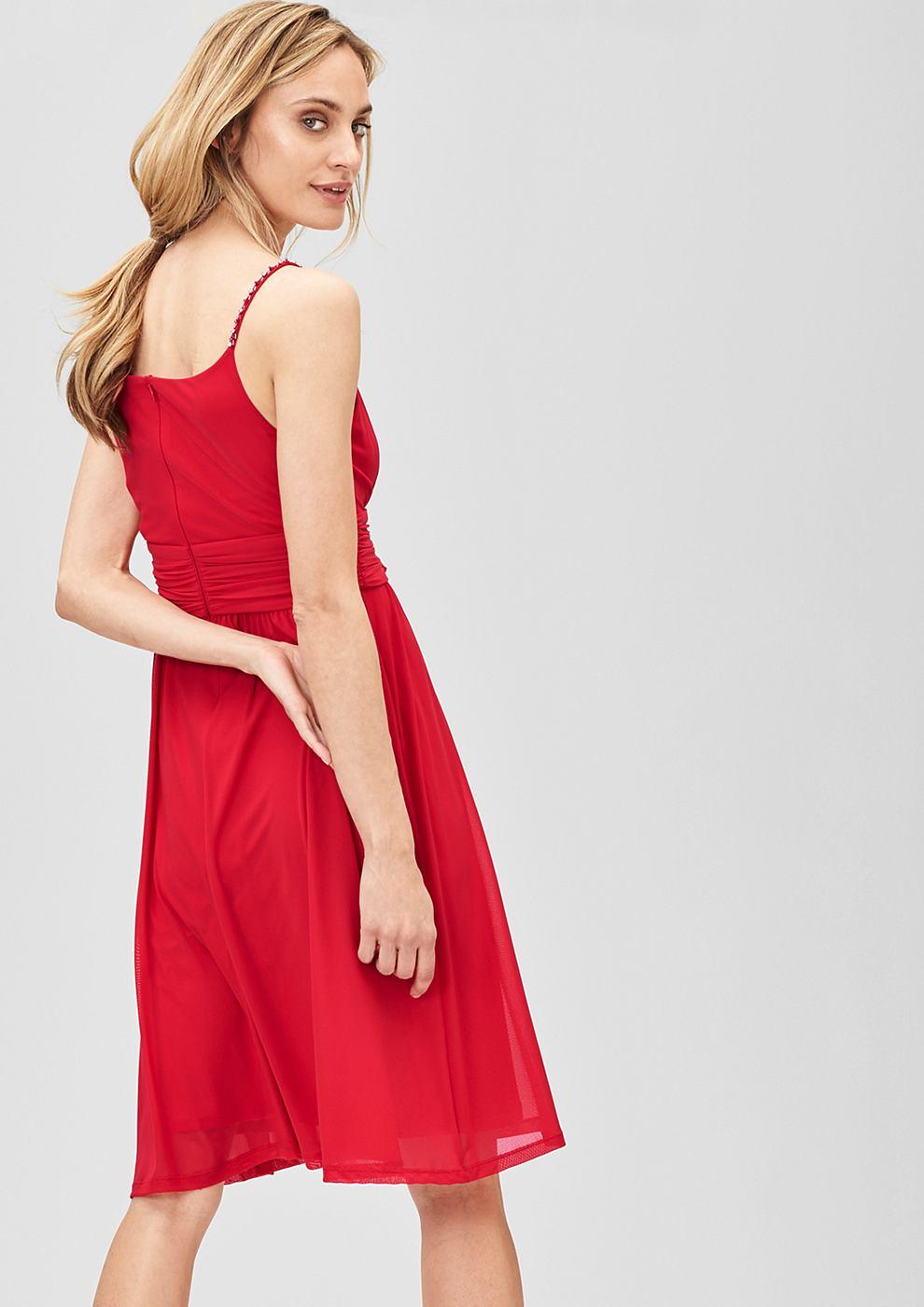 s.Oliver Premium Mesh jurk met stras-schouderbandjes rood