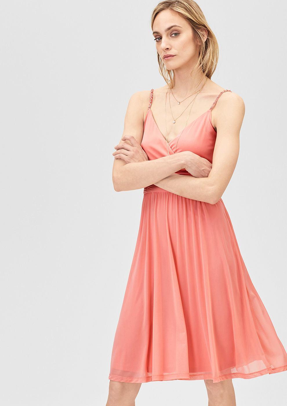 s.Oliver Premium Mesh jurk met stras-schouderbandjes oranje