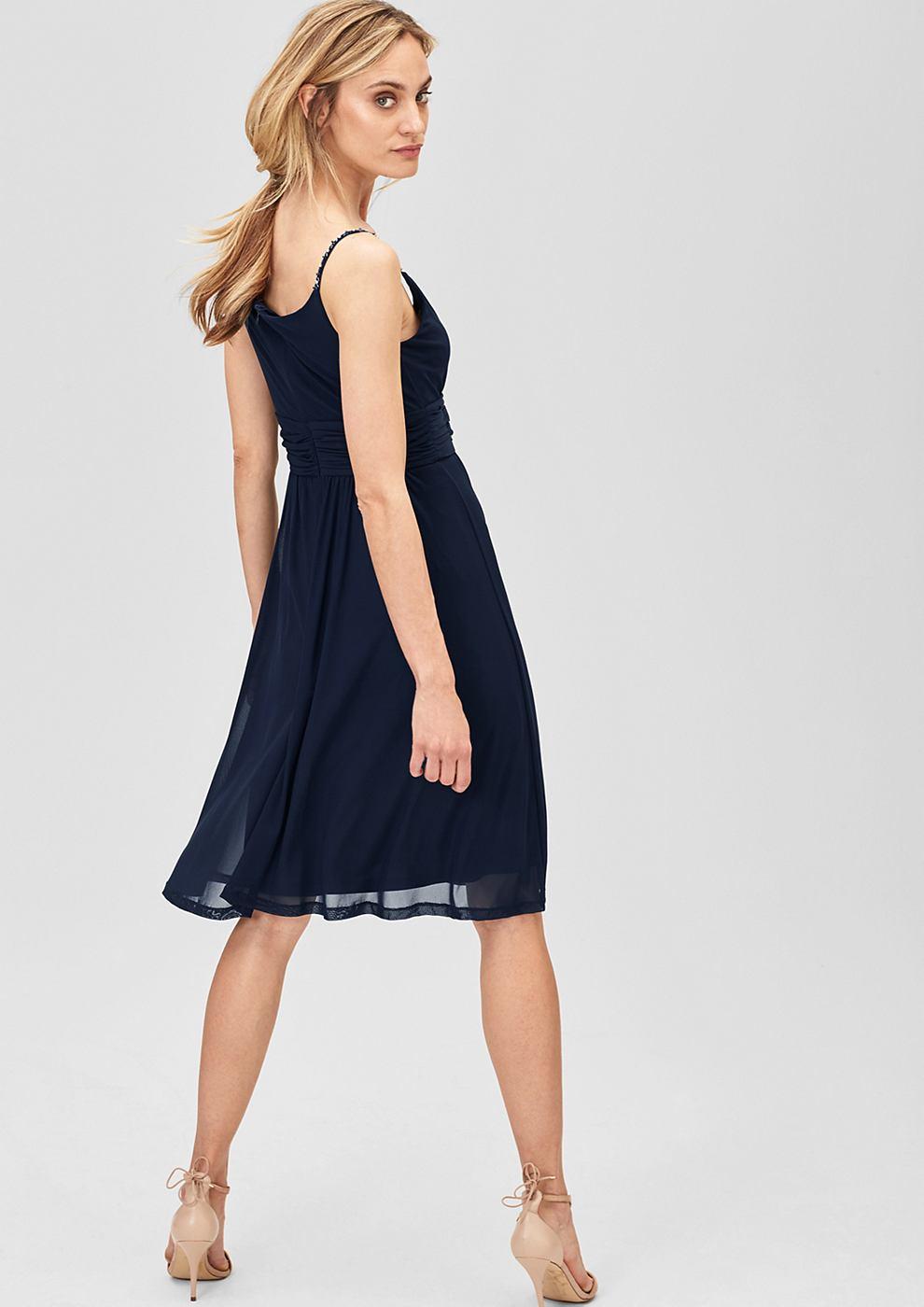 s.Oliver Premium Mesh jurk met stras-schouderbandjes blauw
