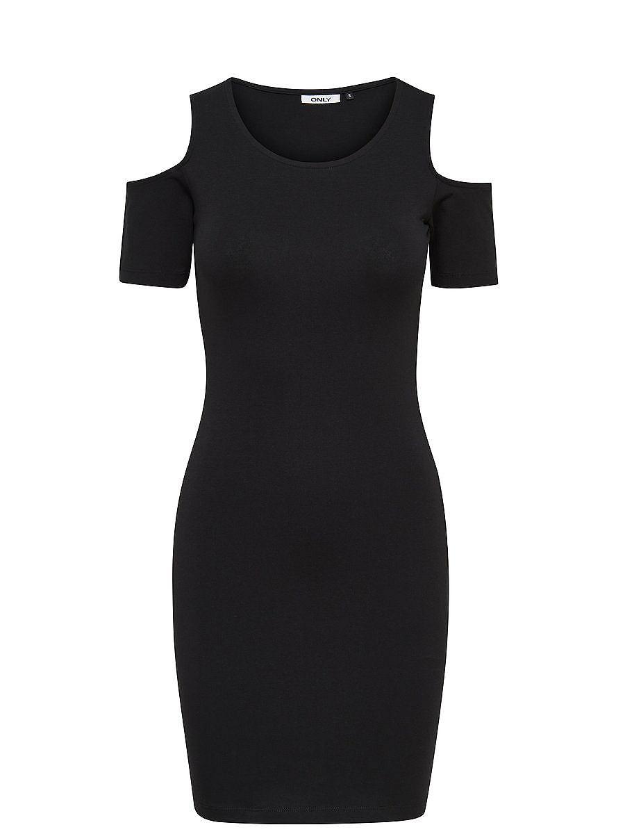 ONLY Open schouders jurk met korte mouwen zwart