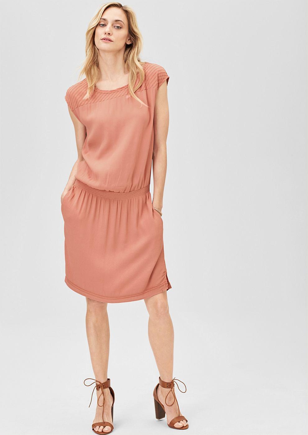 s.Oliver Premium Crêpe jurk met stiksels rood