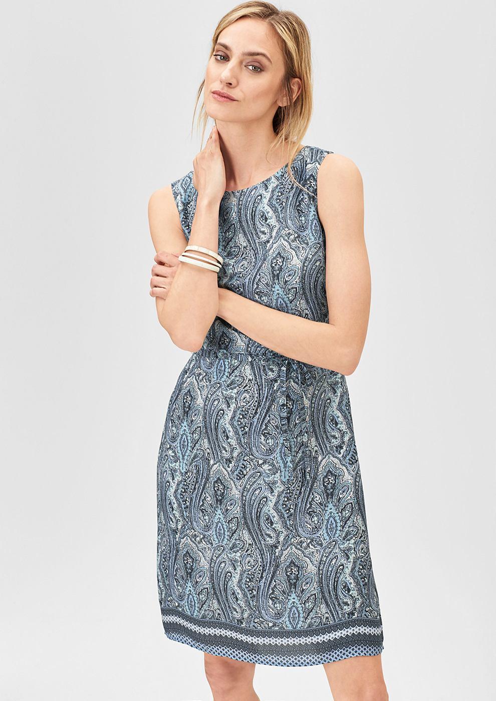 s.Oliver Premium Fijne jurk met een ornamentenmotief blauw