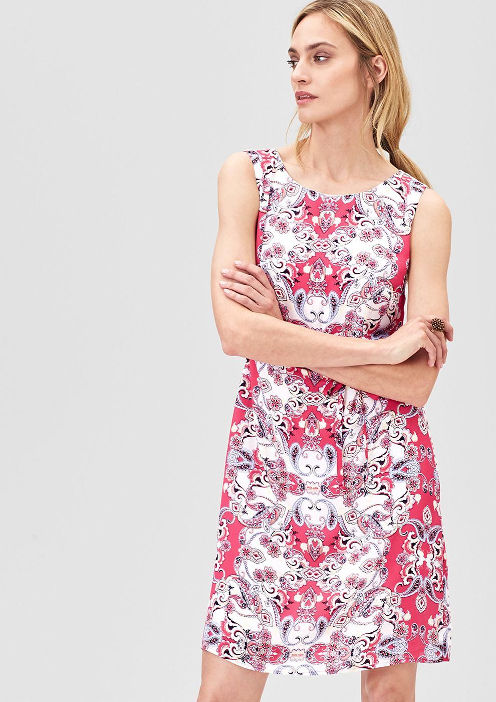 s.Oliver Premium Fijne jurk met een ornamentenmotief roze