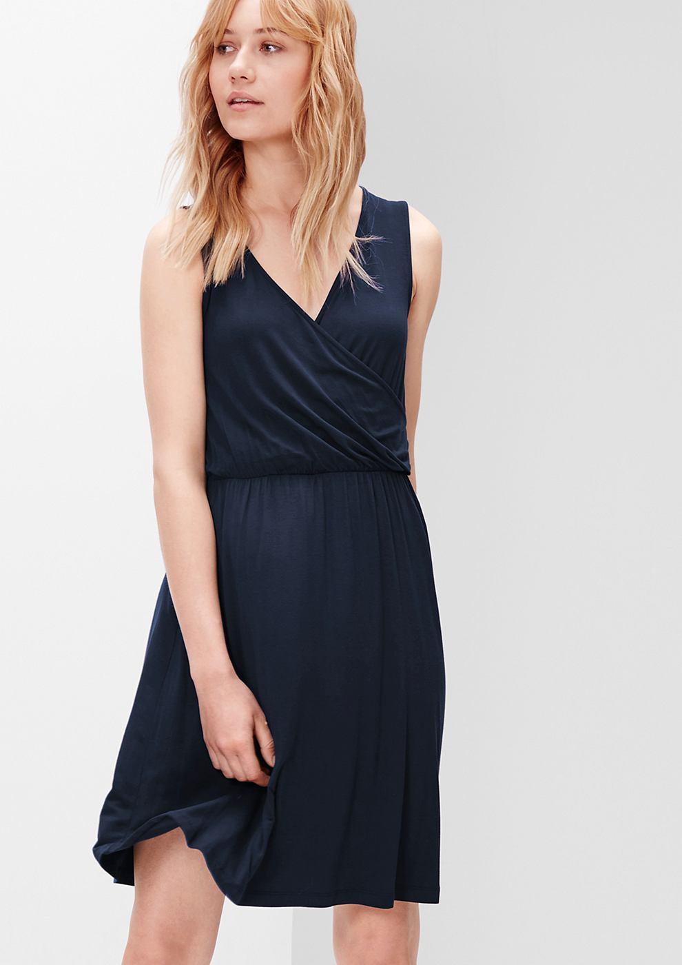 s.Oliver jersey jurk in een wikkellook blauw