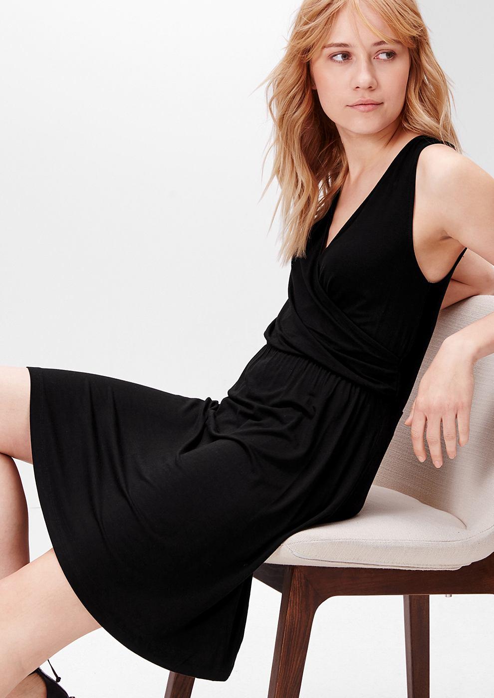 s.Oliver jersey jurk in een wikkellook zwart