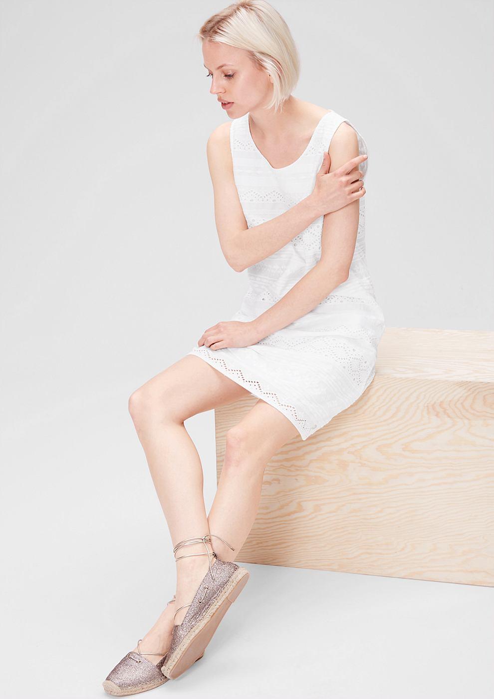 s.Oliver jurk van katoenen kant wit