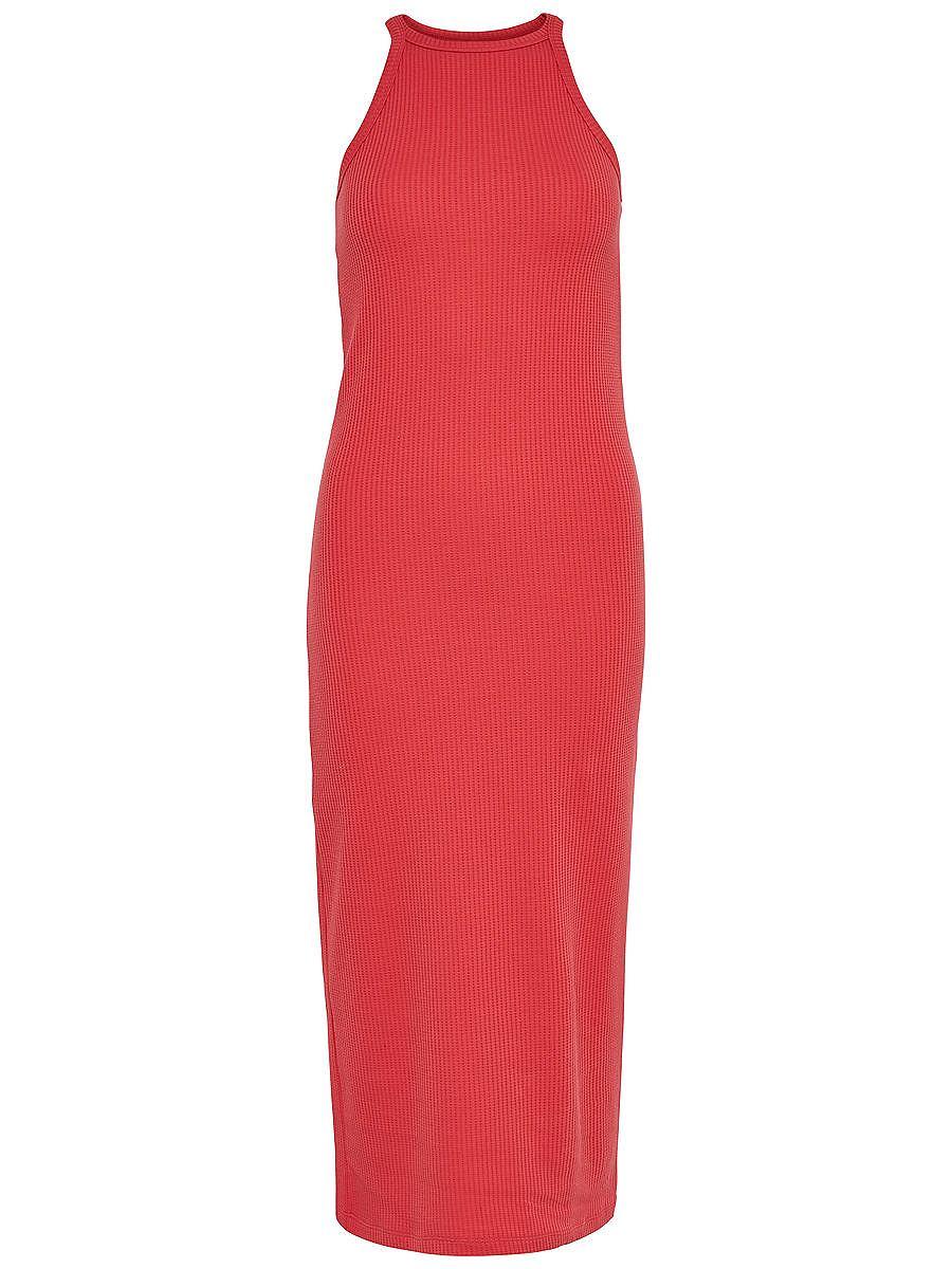 ONLY Kuitlange Mouwloze jurk rood