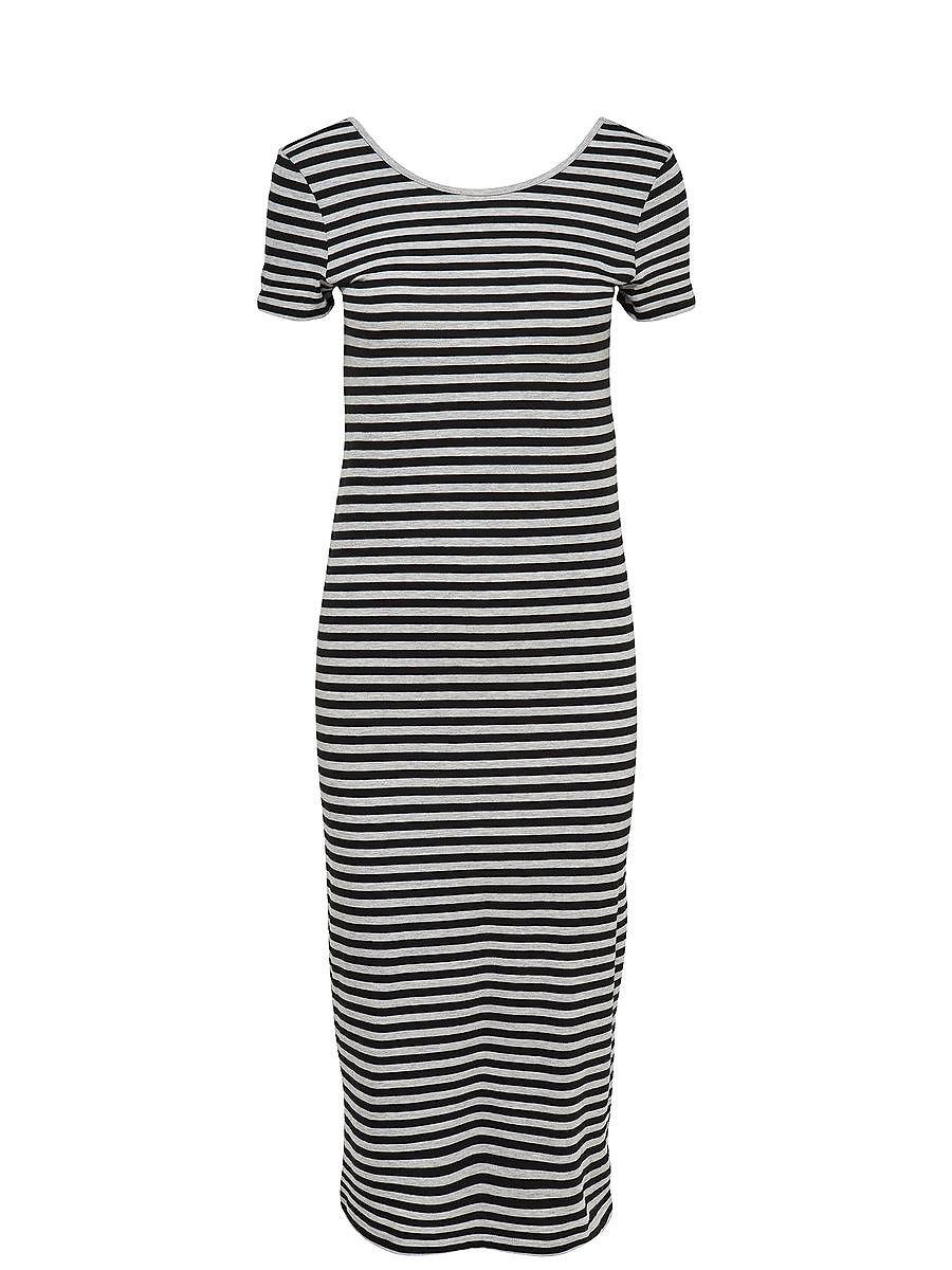 ONLY Gestreepte jurk met korte mouwen zwart