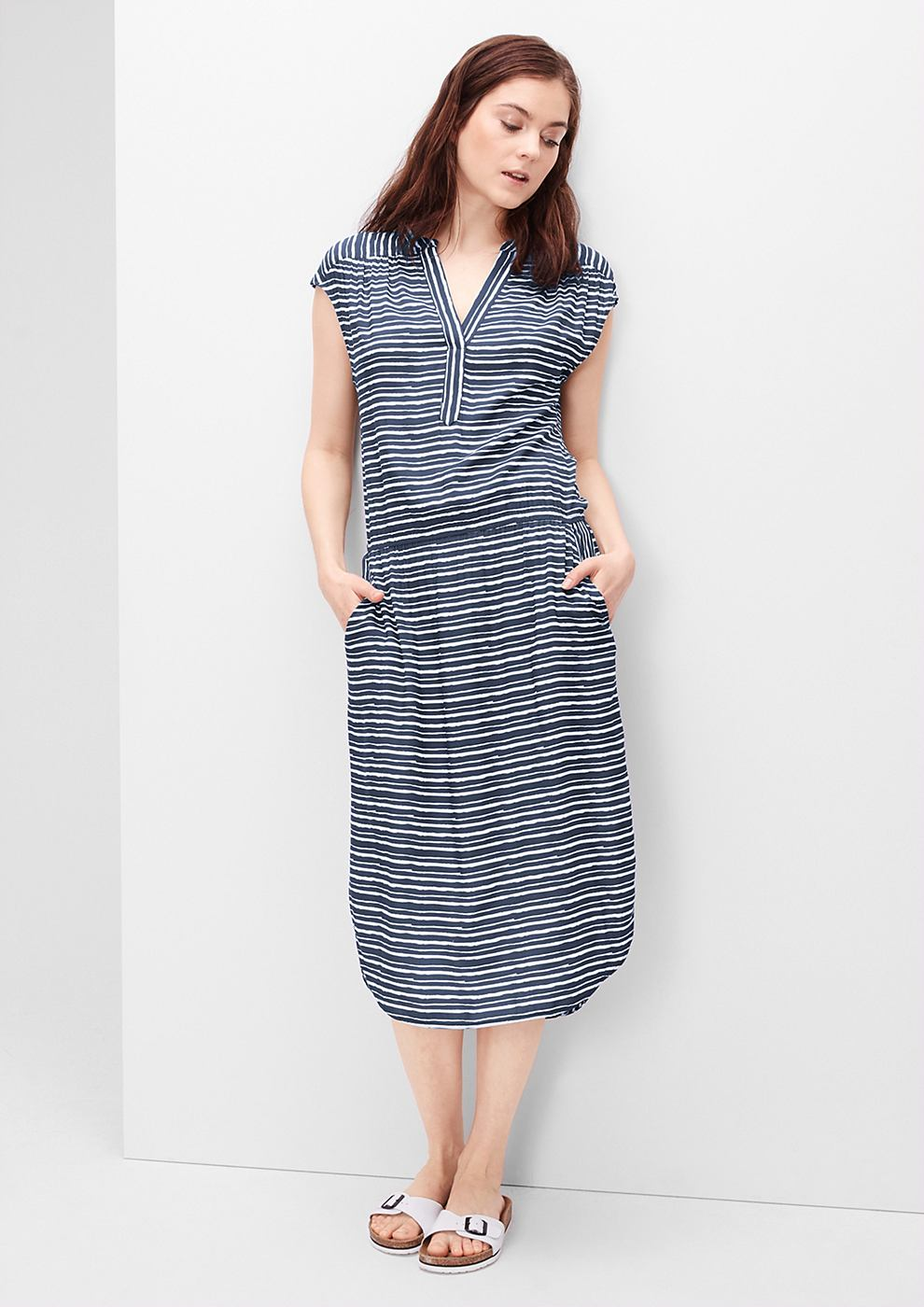 s.Oliver Midi-jurk met een strepenlook blauw