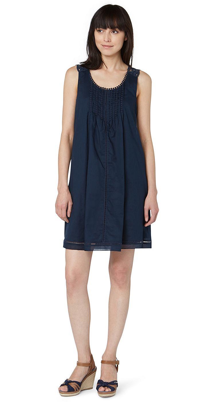 Tom Tailor jurk »verspieltes Sommerkleid mit Spitze« blauw