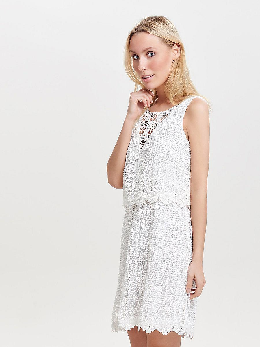 ONLY Gehaakte Mouwloze jurk wit