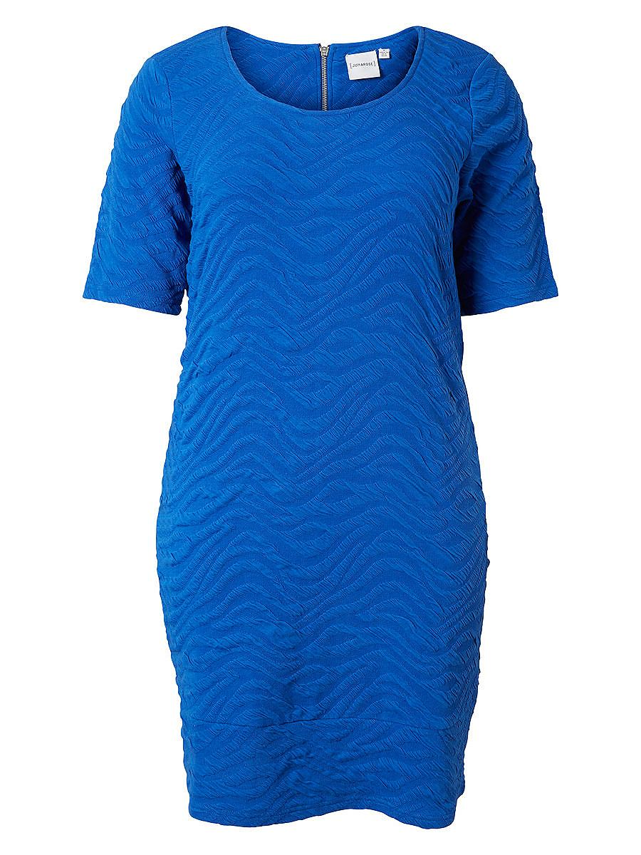Junarose Gestructureerde jurk blauw