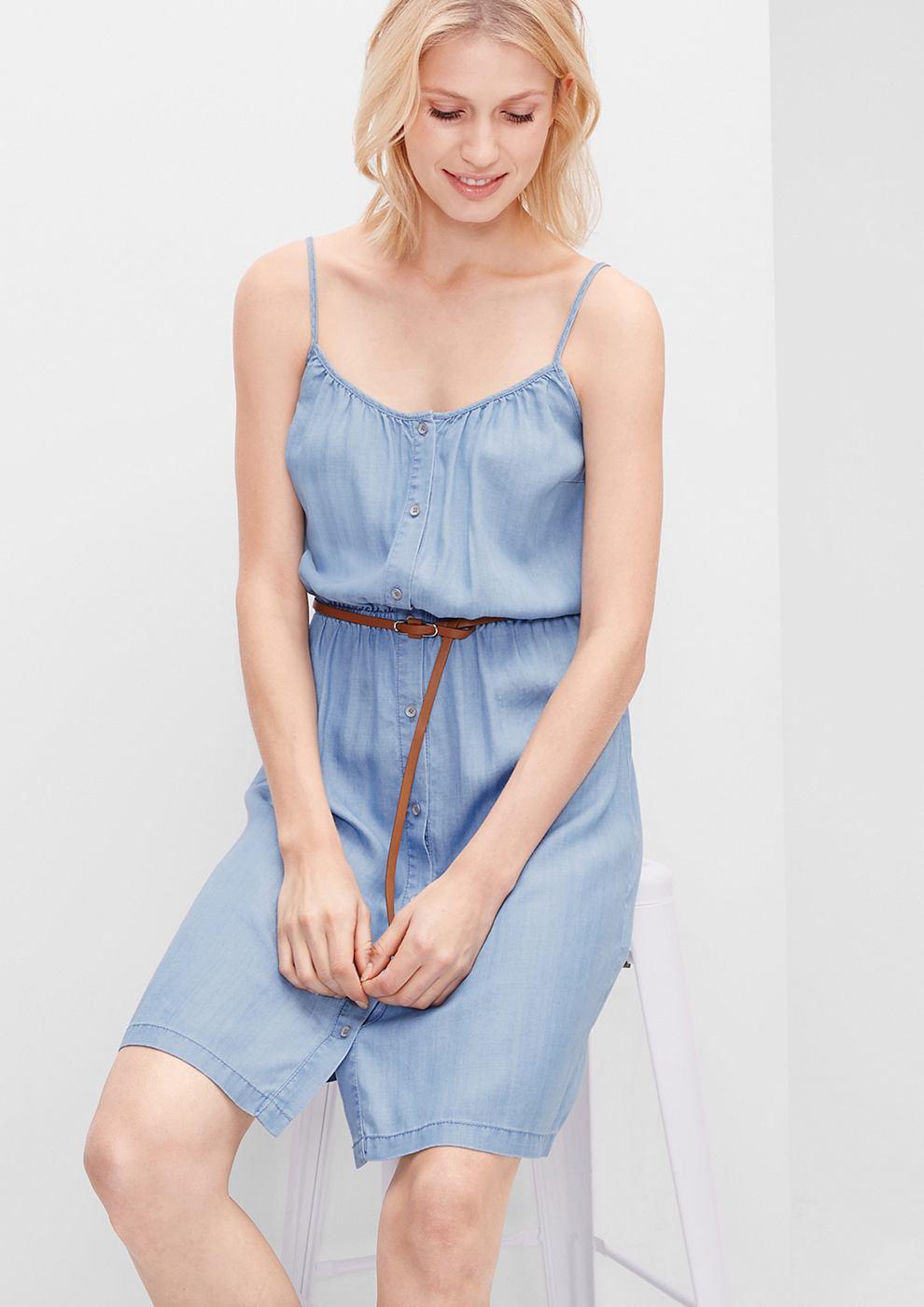 s.Oliver jurk met lichte denim look blauw