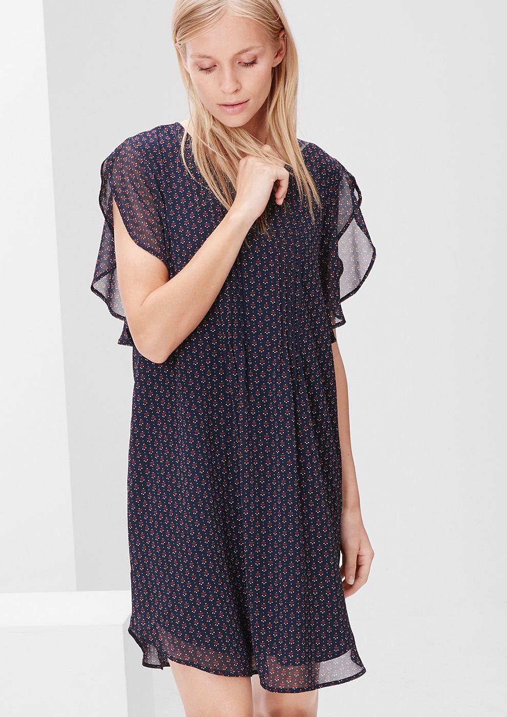 s.Oliver chiffon jurk met volantmouwen blauw