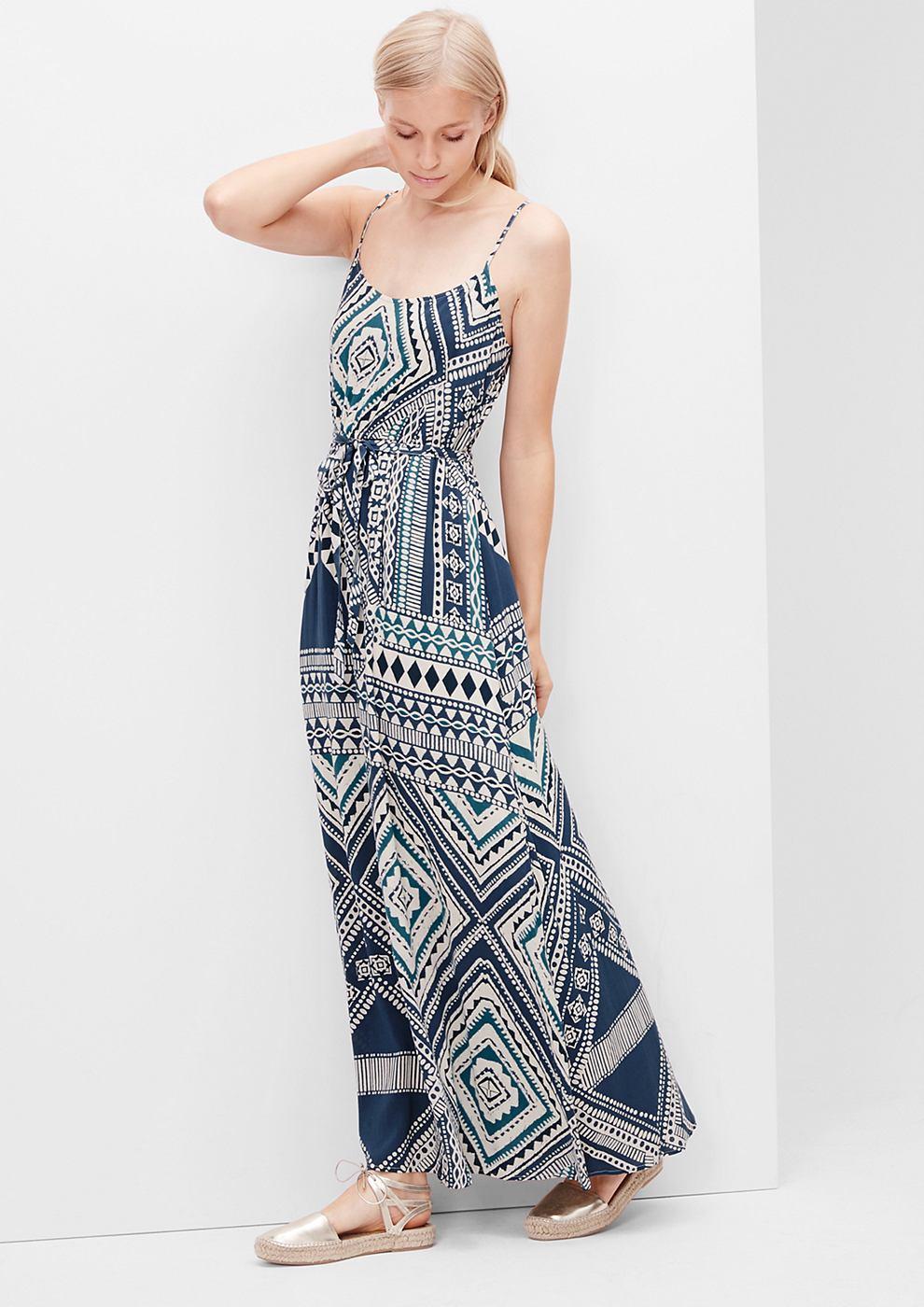 s.Oliver Maxi-jurk met etnisch motief blauw