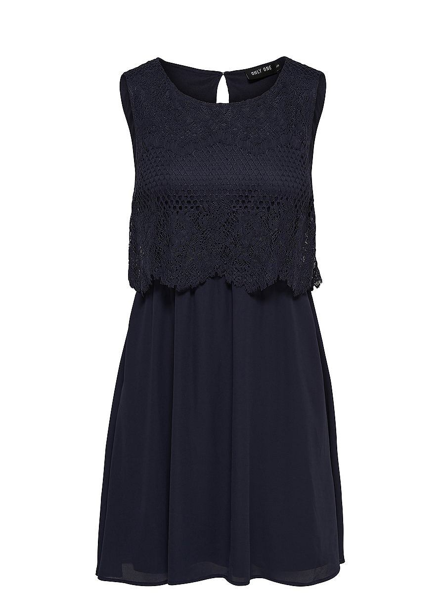 ONLY kanten Mouwloze jurk blauw