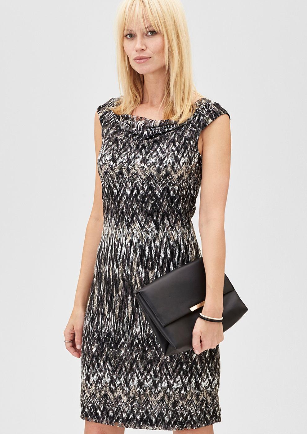 s.Oliver Premium kanten jurk met motiefprint zwart