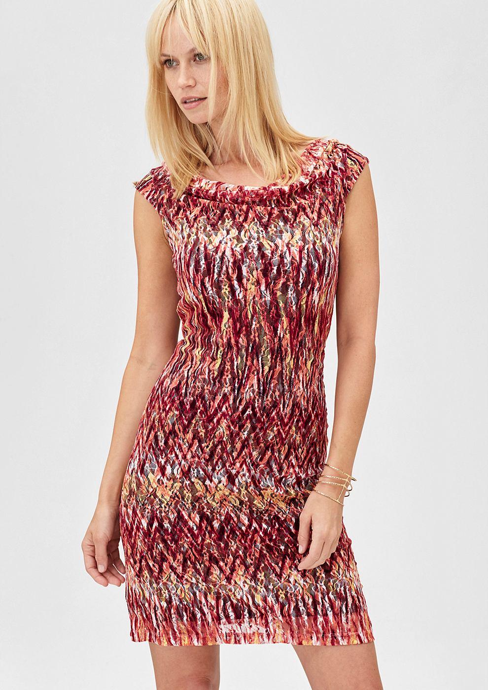 s.Oliver Premium kanten jurk met motiefprint oranje