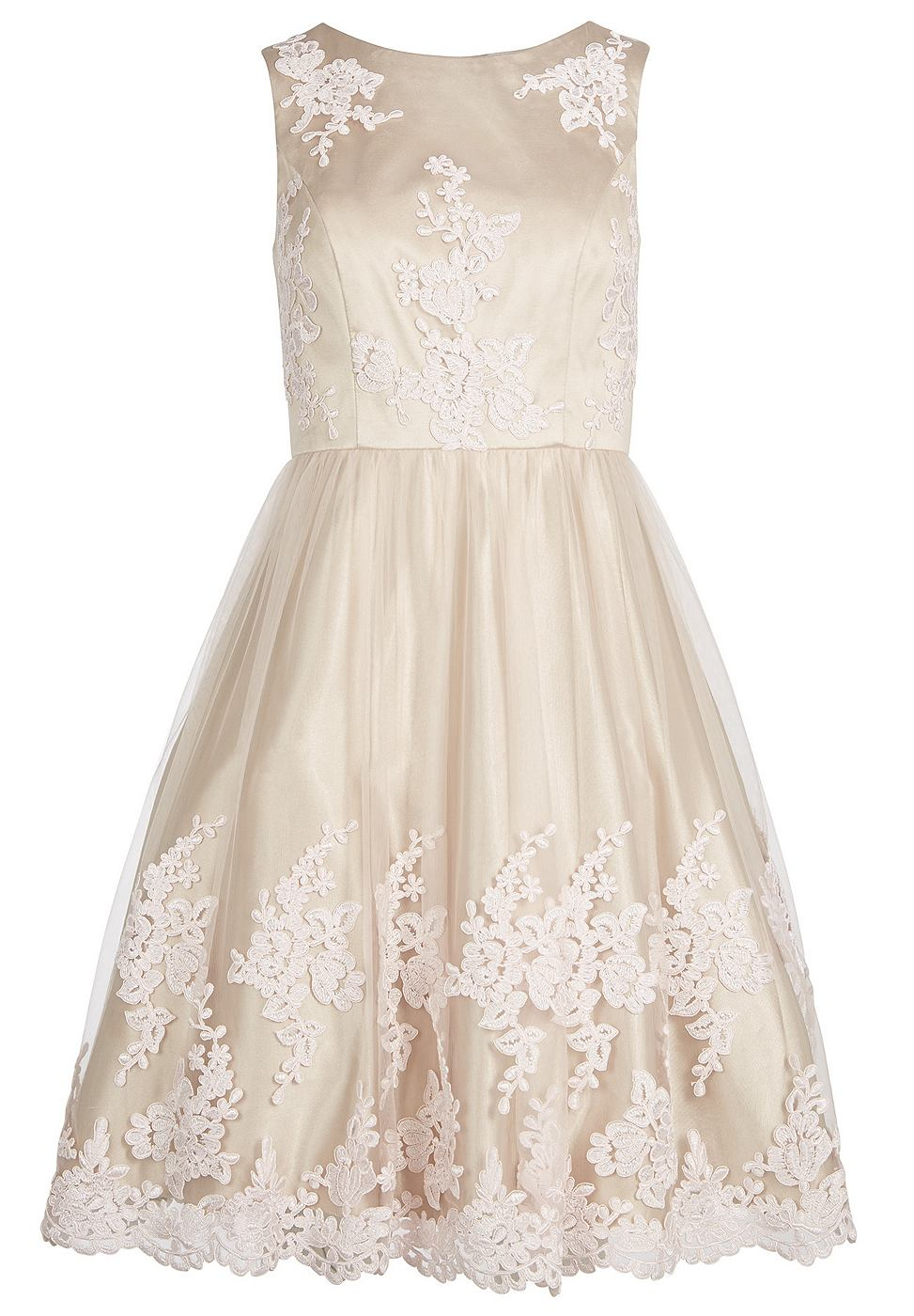 Apart Tule jurk beige