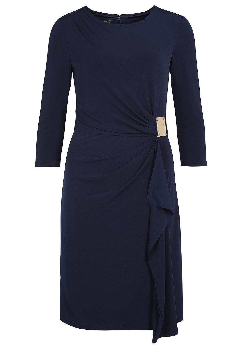 Apart jurk met draperingen blauw