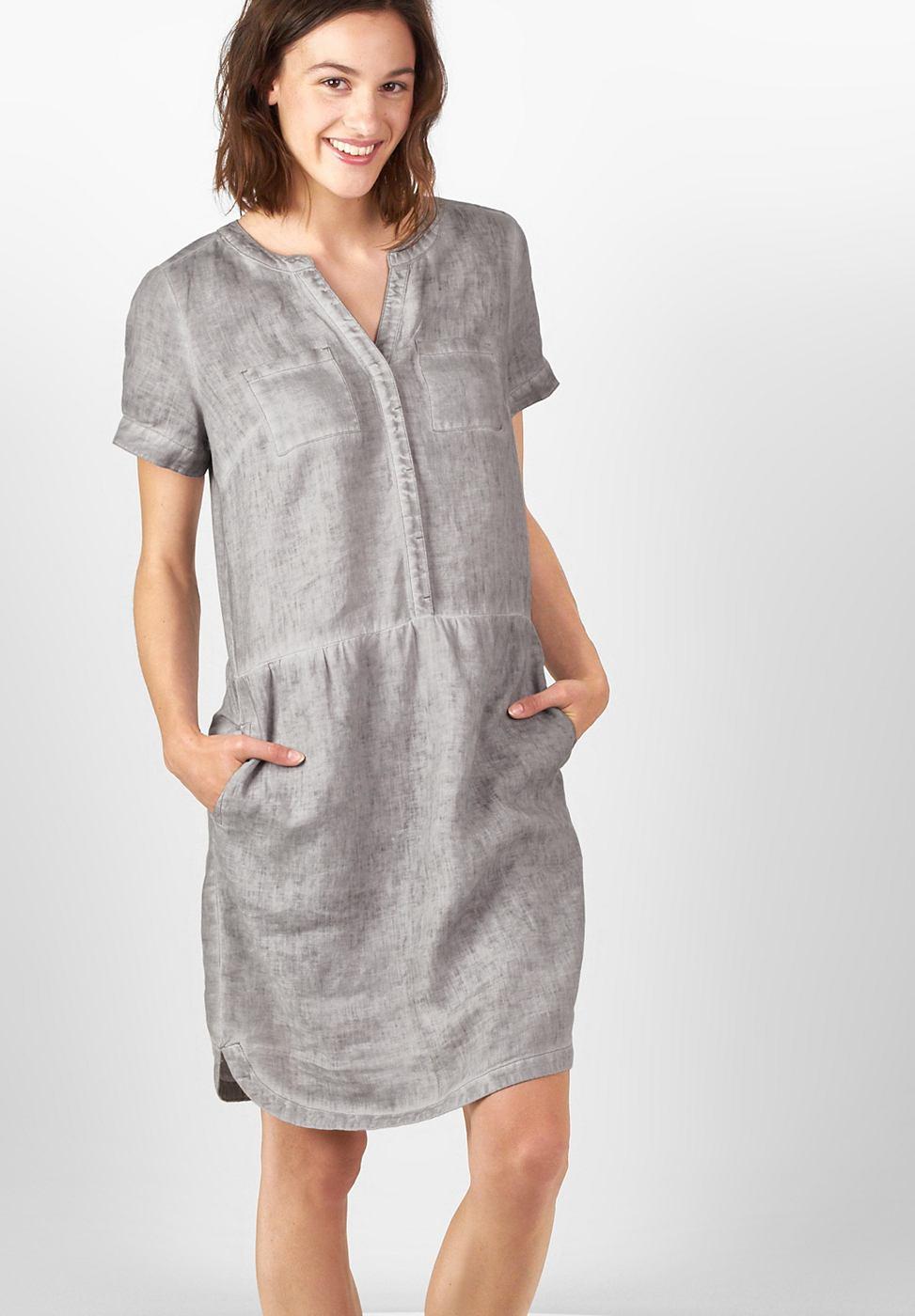 Street One Sportieve jurk van linnen grijs