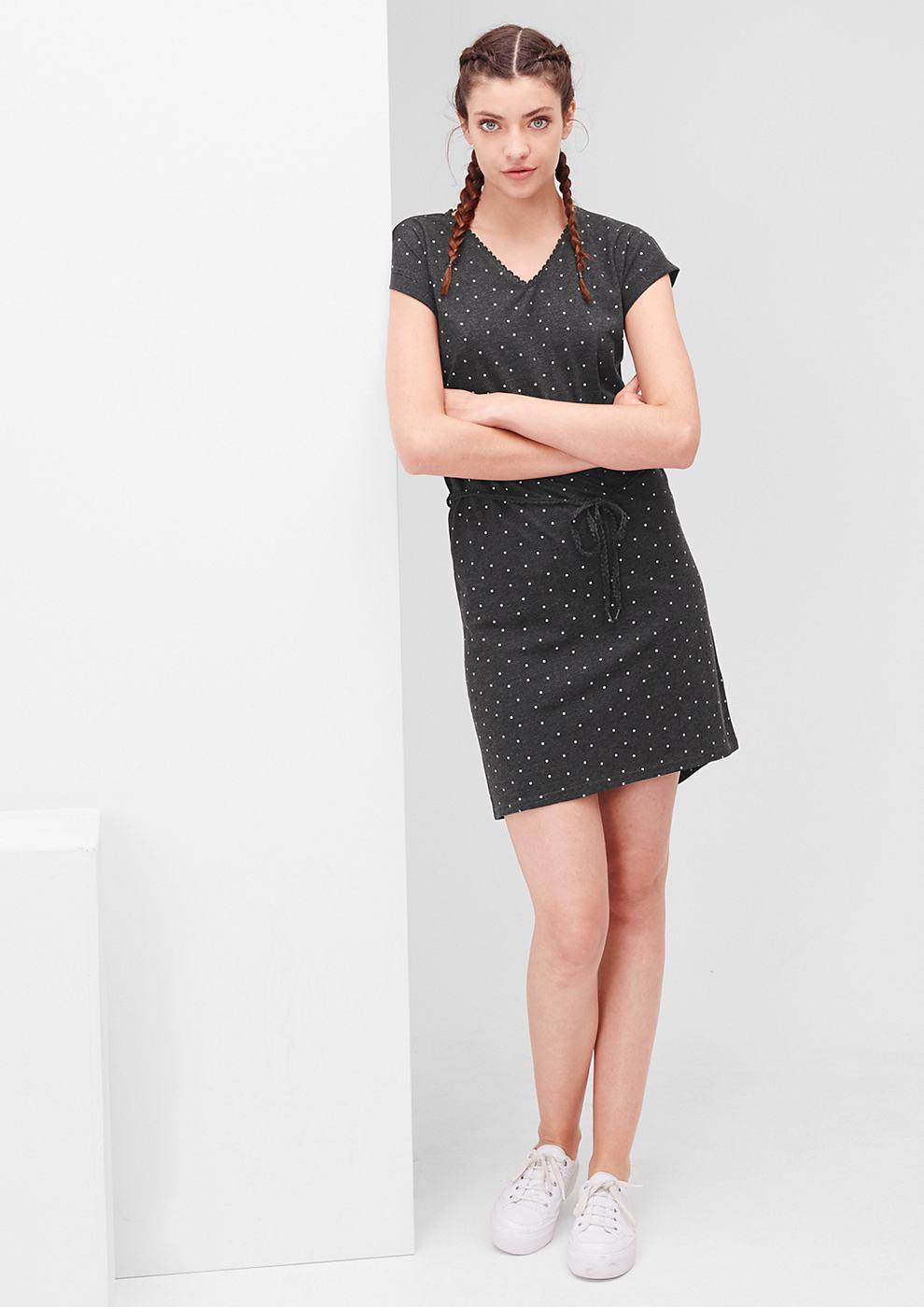 s.Oliver jersey jurk met motief zwart
