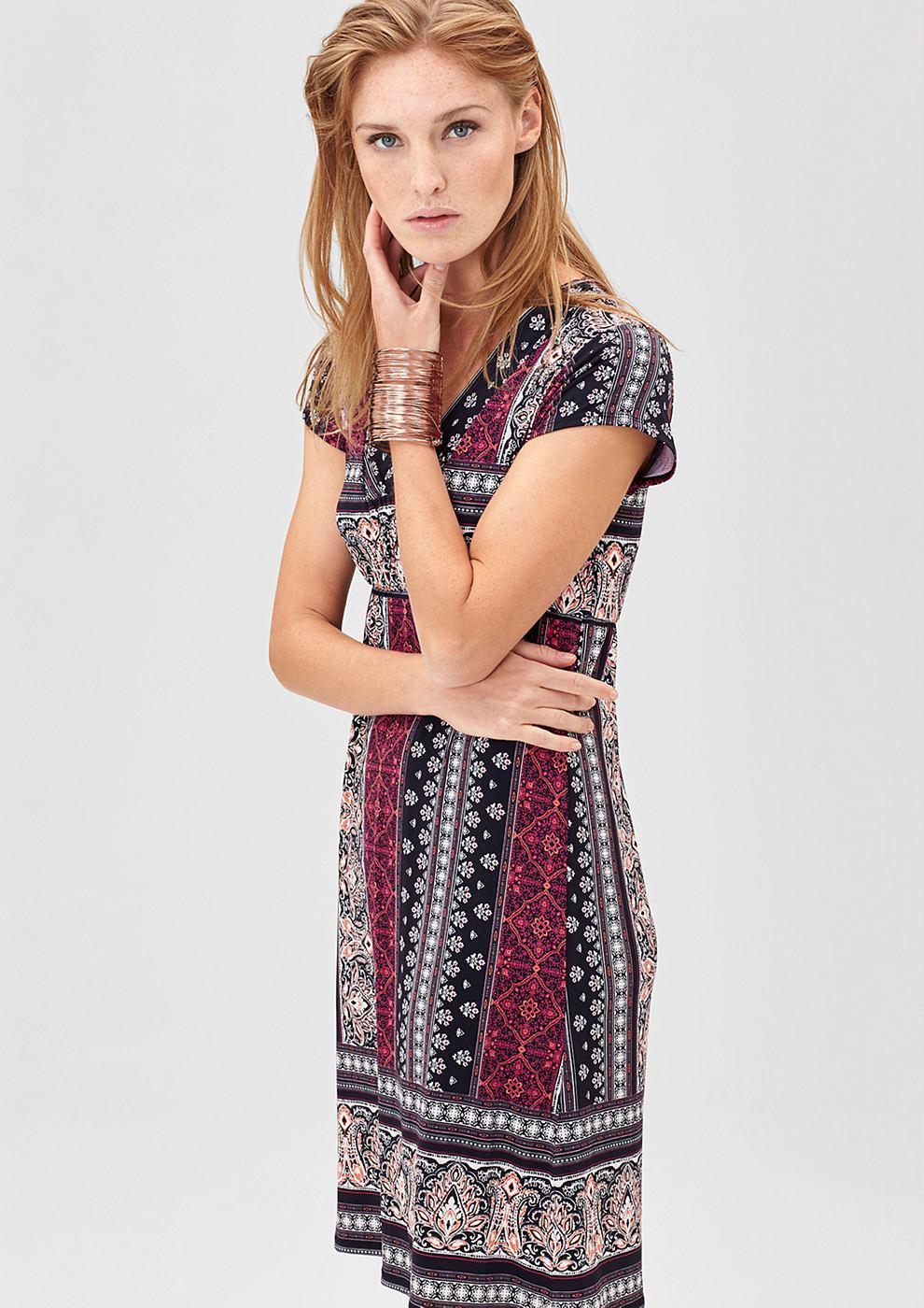 s.Oliver Premium jurk met een bijzonder motief zwart