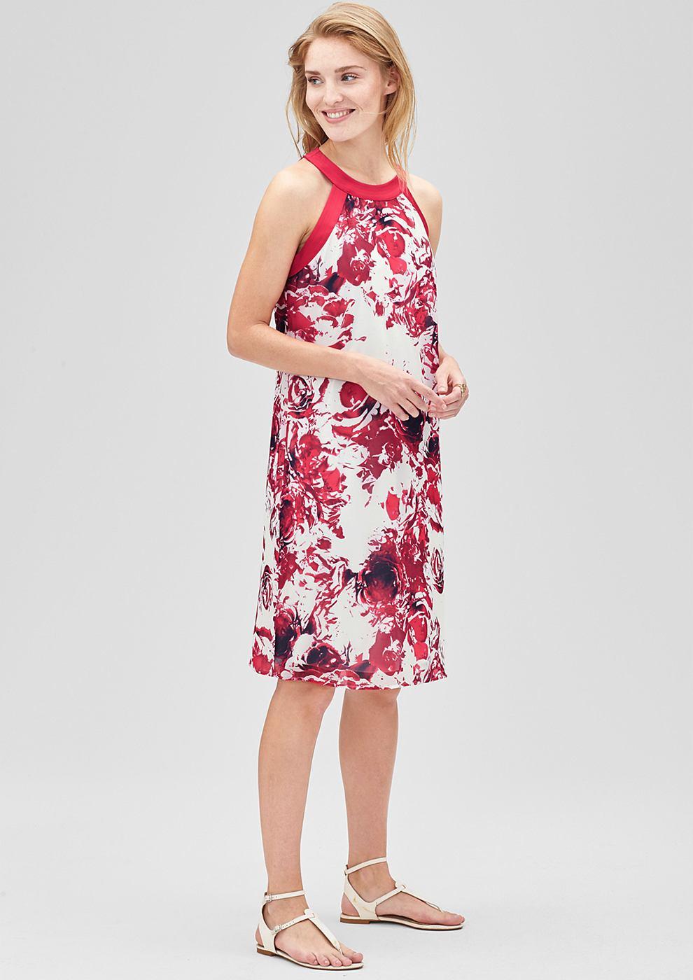 s.Oliver Premium chiffon jurk met een rozenprint roze
