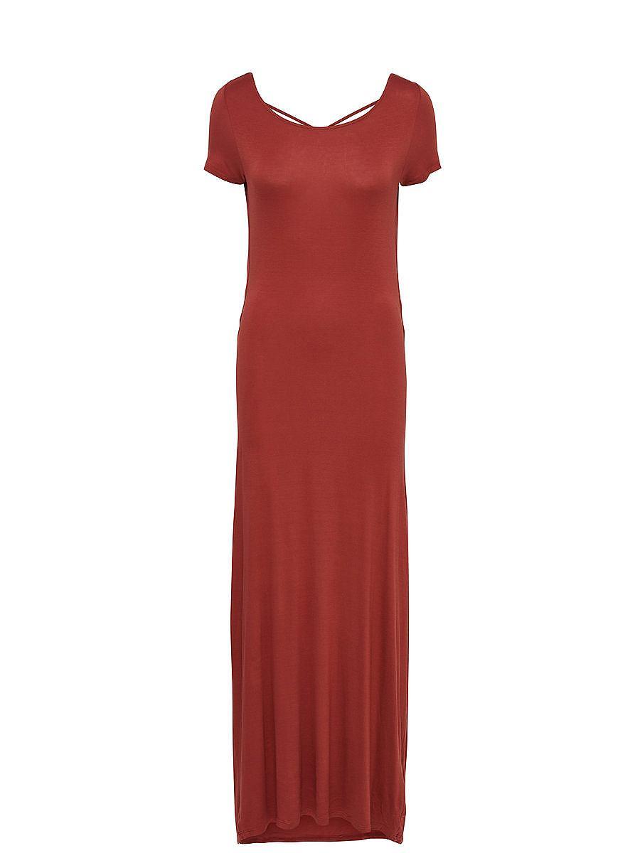 ONLY Lange jurk met korte mouwen bruin