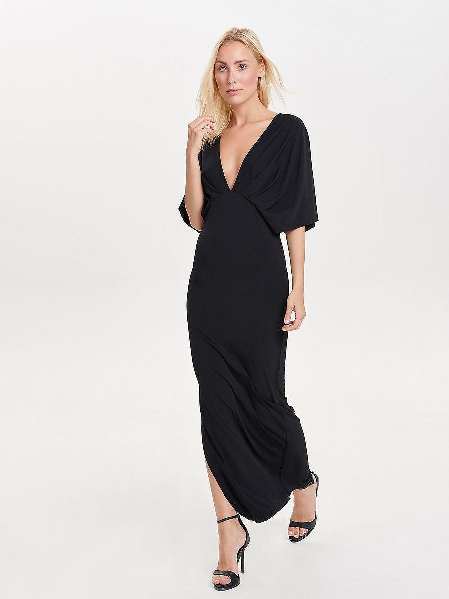 ONLY Korte mouw Maxi jurk zwart
