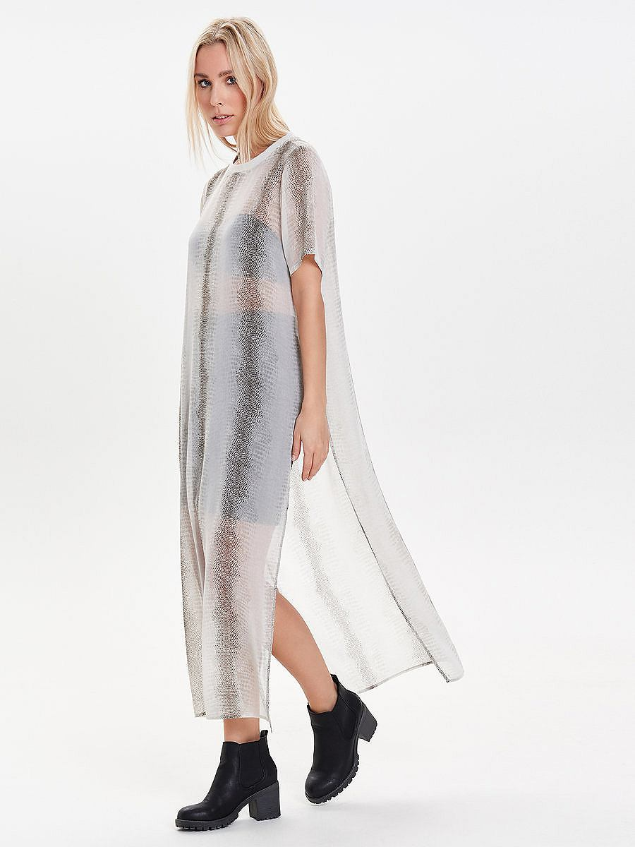 ONLY Met bedrukte split jurk met korte mouwen multicolor