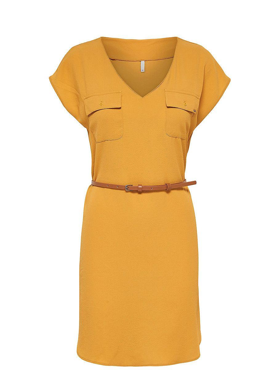 ONLY Ruimvallende jurk met korte mouwen geel
