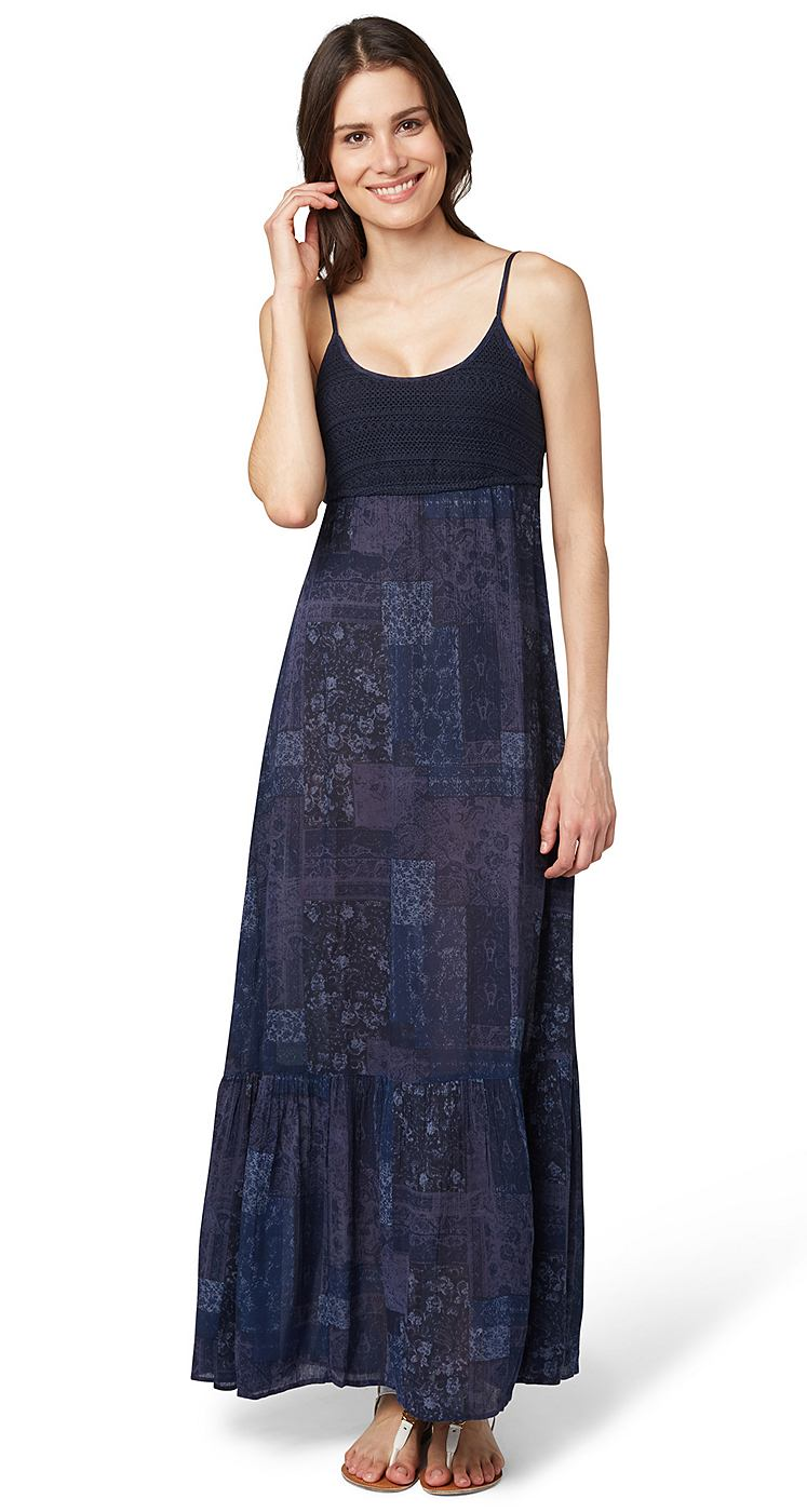 Tom Tailor jurk »Maxi jurk met detail van gehaakt kant« blauw
